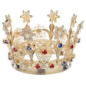 Crown with flowers and strass decorations s2