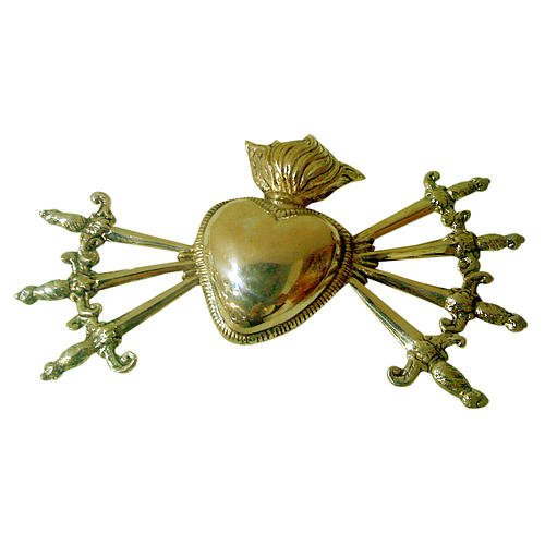 Heart with seven swords in cast brass for Our Lady of Sorrow 1