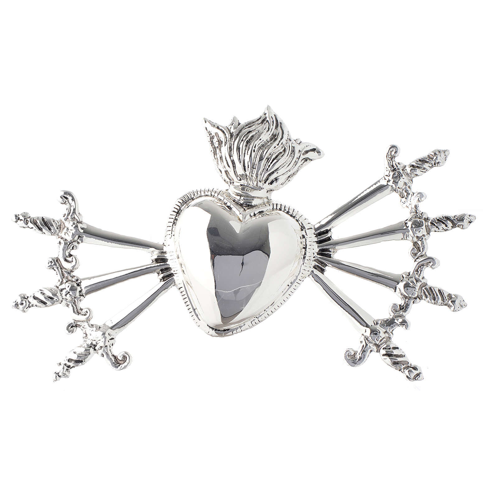 Heart with seven swords for Our Lady of Sorrows in silver-plated brass 3
