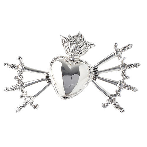 Heart with seven swords for Our Lady of Sorrows in silver-plated brass 1