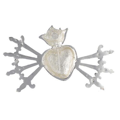 Cuore sette spade per addolorata ottone fuso argento 3