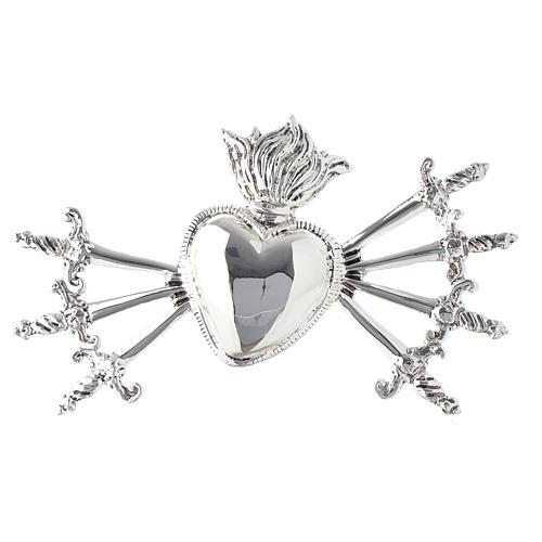 Coração sete espadas para Nossa Senhora Dores latão moldado prateado