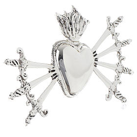 Heart with Seven Swords for Our Lady of Sorrows in silver-plated brass s2