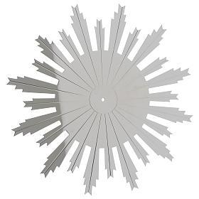 Couronnes et auréoles d'étoiles: Auréole à rayons laiton argenté rayons gravés 25 cm