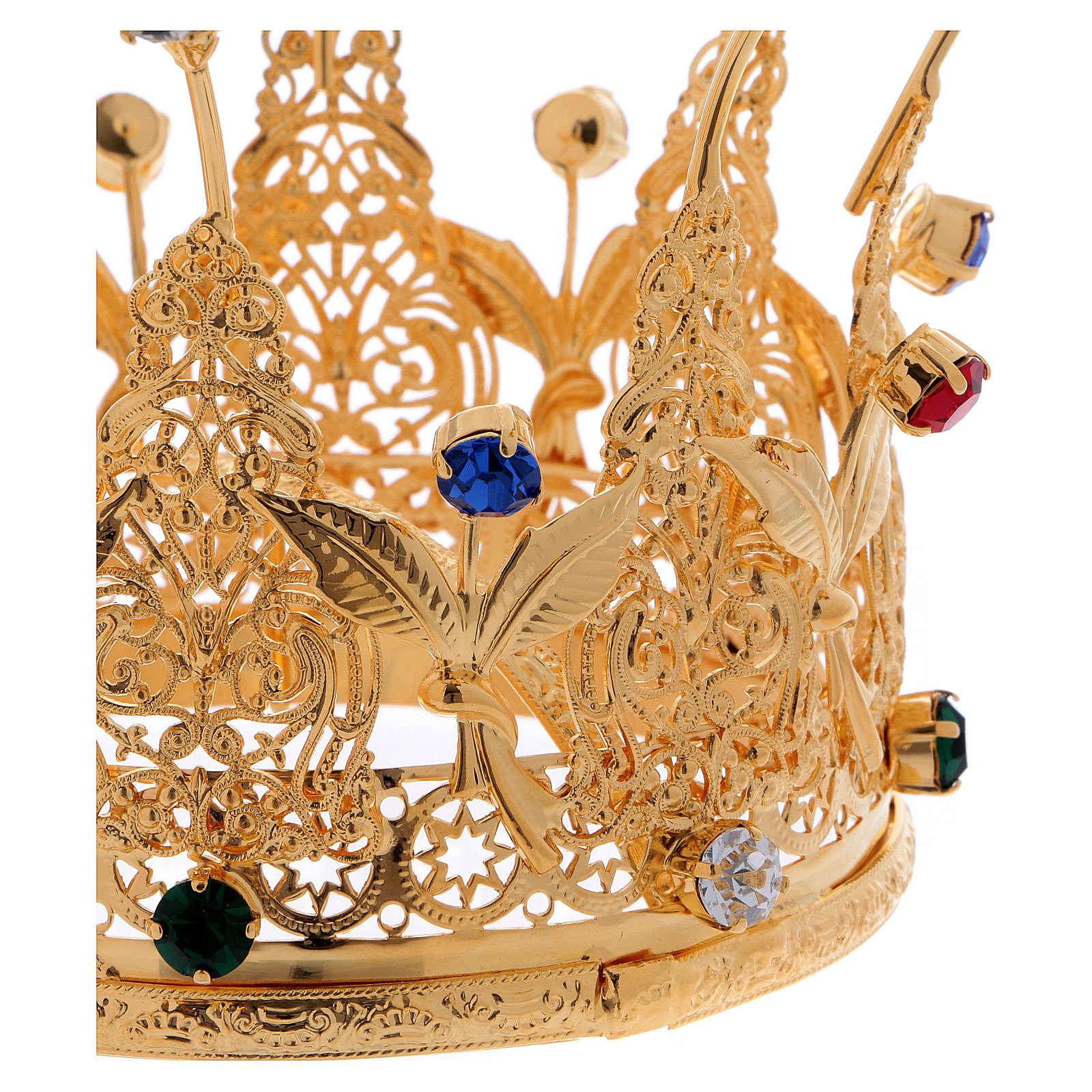 Corona estilo real flores y gemas para estatuas diám. 10 cm 3