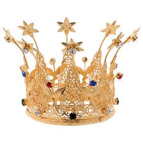 Corona estilo real flores y gemas para estatuas diám. 10 cm s1