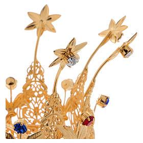 Corona estilo real flores y gemas para estatuas diám. 10 cm s3