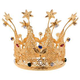 Corona estilo real flores y gemas para estatuas diám. 10 cm s4
