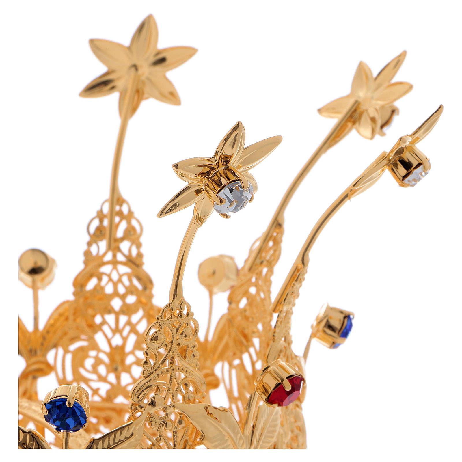 Corona stile reale fiori e gemme per statue diam. 10 cm 3