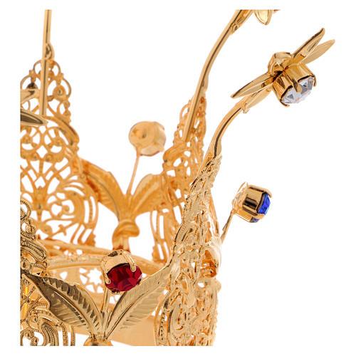 Coroncina Reale dorata gemme e fiori per statue diam. 8 cm 2
