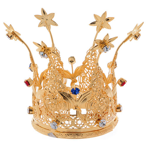 Coroncina Reale dorata gemme e fiori per statue diam. 8 cm 4
