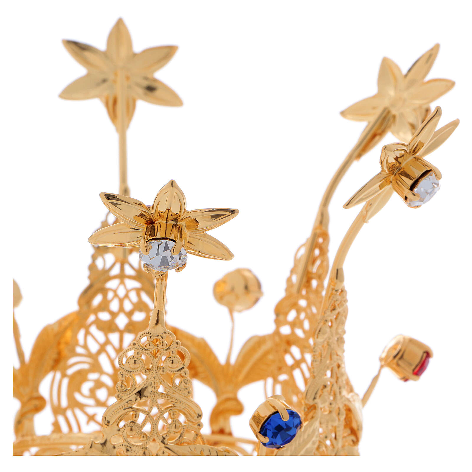 Gold plated royal crown with gems and flowers for statues 3 in diameter 3