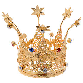 Gold plated royal crown with gems and flowers for statues 3 in diameter s1