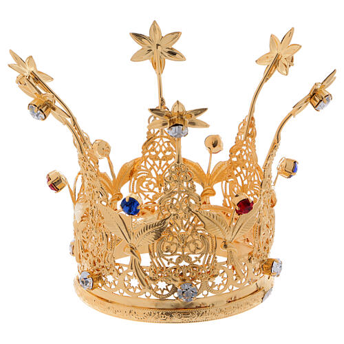 Gold plated royal crown with gems and flowers for statues 3 in diameter 1