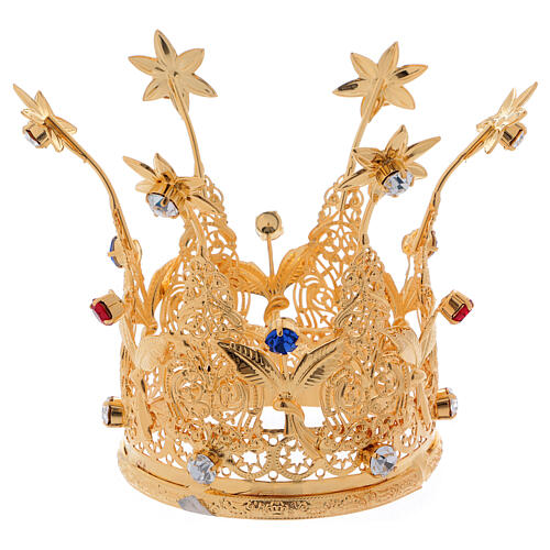 Gold plated royal crown with gems and flowers for statues 3 in diameter 4