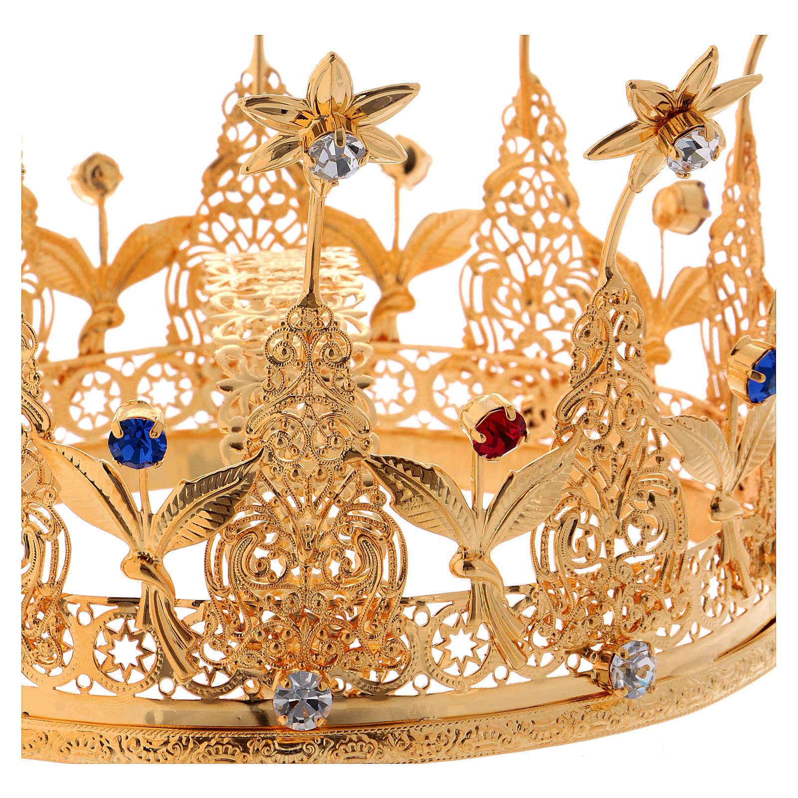Corona reale per statue con pietre e fiori diam. 16 cm 3