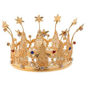 Corona reale per statue con pietre e fiori diam. 16 cm s1