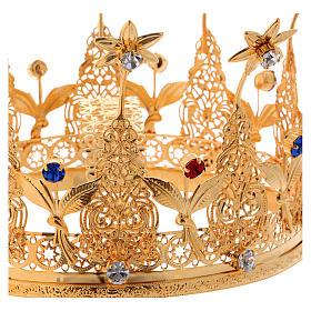 Corona reale per statue con pietre e fiori diam. 16 cm s2