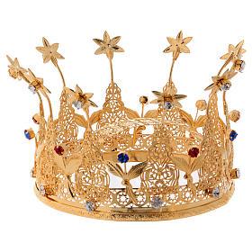 Corona reale per statue con pietre e fiori diam. 16 cm s3