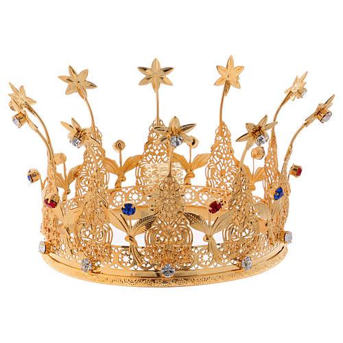 Corona reale per statue con pietre e fiori diam. 16 cm 1