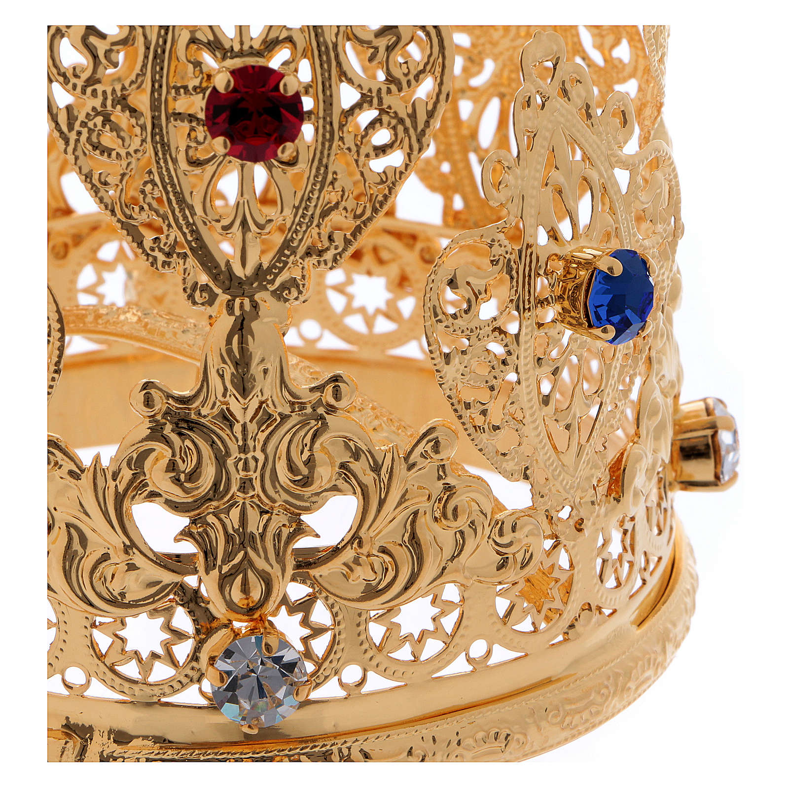 Coroncina ducale filigrana e gemme per statue diam. 8 cm 3