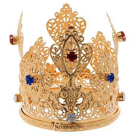 Coroncina ducale filigrana e gemme per statue diam. 8 cm s1