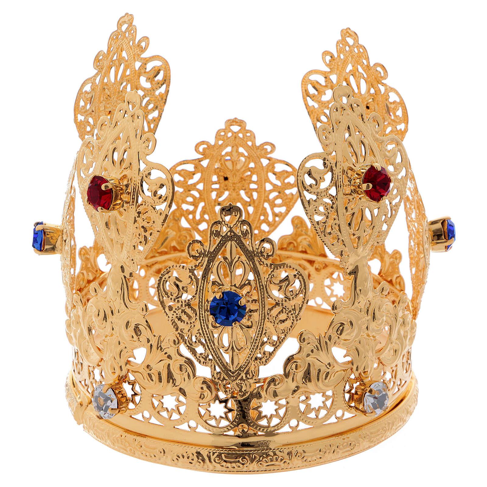 Coroa ducal filigrana e gemas para estátuas diâm. 8 cm 3