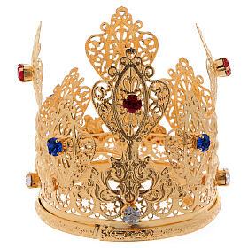 Coroa ducal filigrana e gemas para estátuas diâm. 8 cm s1