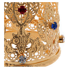 Coroa ducal filigrana e gemas para estátuas diâm. 8 cm s2