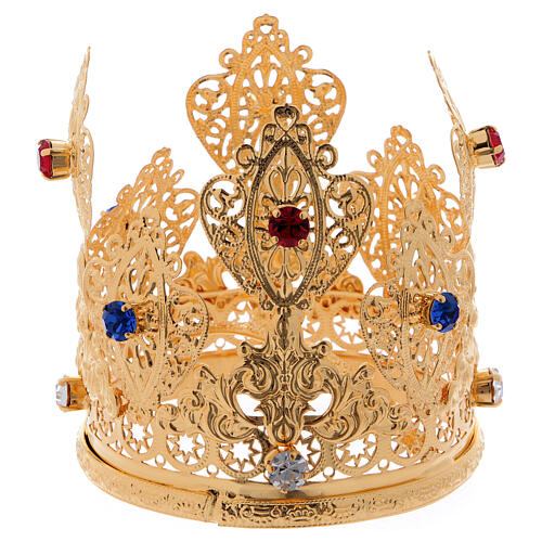 Coroa ducal filigrana e gemas para estátuas diâm. 8 cm 1