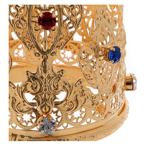 Coroa ducal filigrana e gemas para estátuas diâm. 8 cm 2