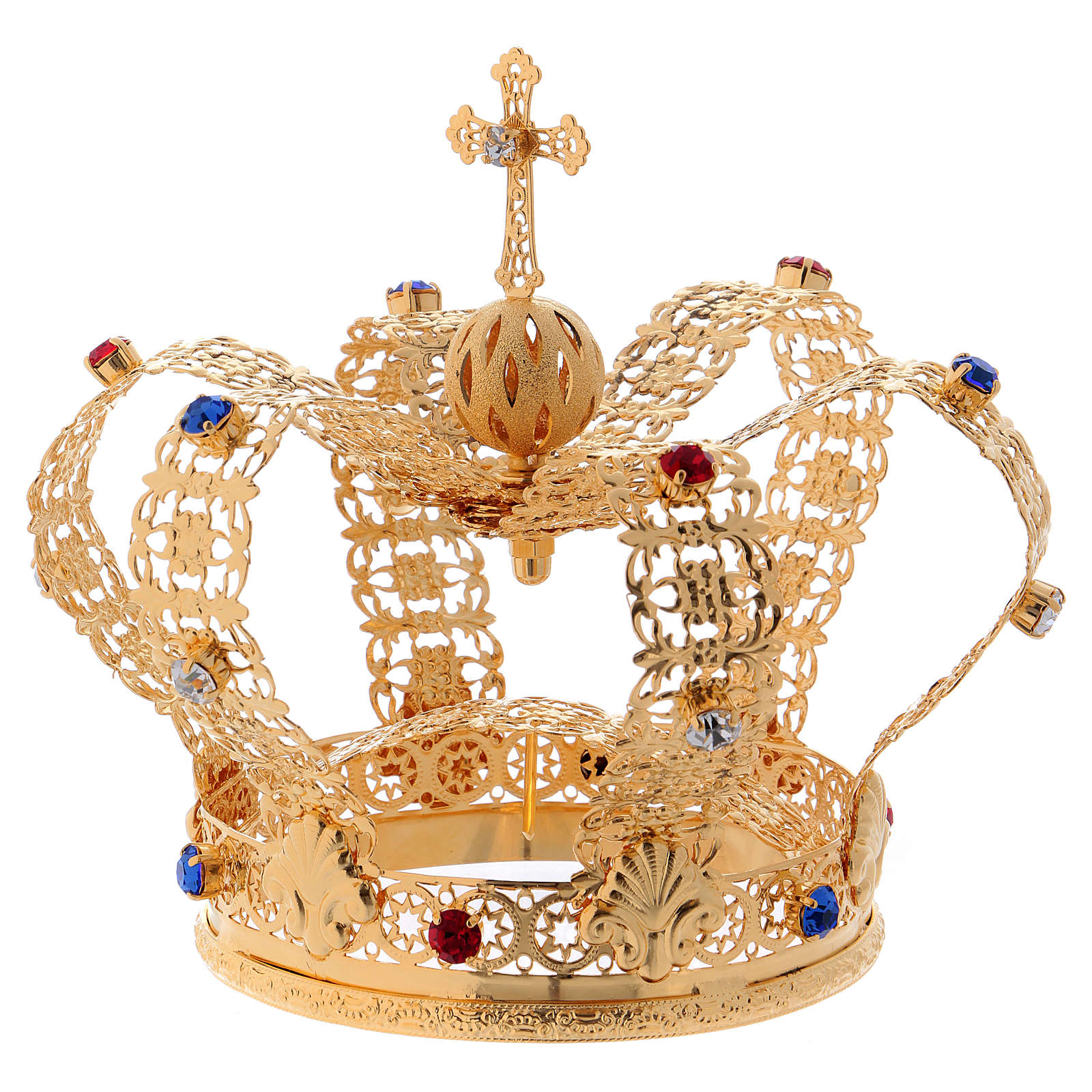 Corona stile imperiale croce e gemme per statue diam. 10 cm 3