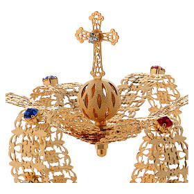 Corona stile imperiale croce e gemme per statue diam. 10 cm s1