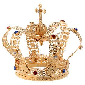 Corona stile imperiale croce e gemme per statue diam. 10 cm s2
