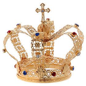 Corona stile imperiale croce e gemme per statue diam. 10 cm s5