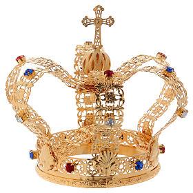 Corona stile imperiale croce e gemme per statue diam. 10 cm s6