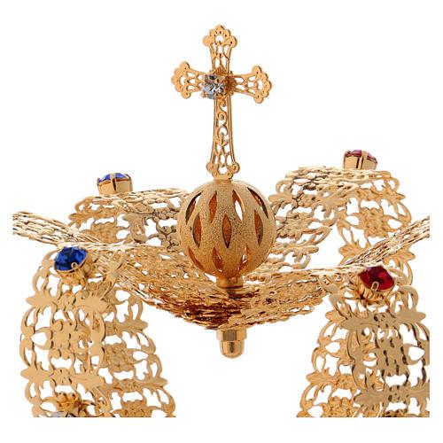 Corona stile imperiale croce e gemme per statue diam. 10 cm 1