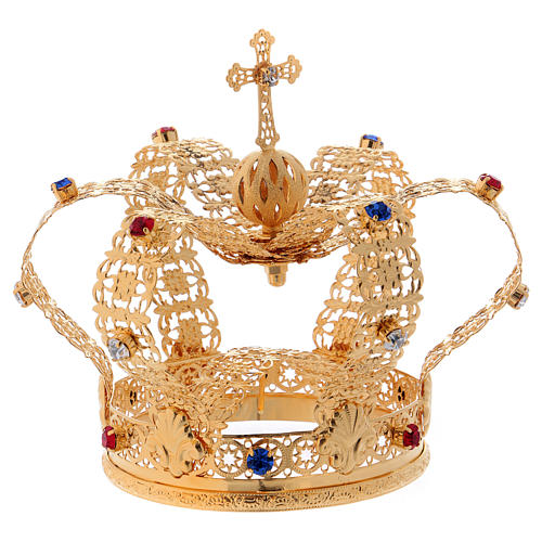 Corona stile imperiale croce e gemme per statue diam. 10 cm 4