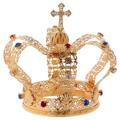 Corona stile imperiale croce e gemme per statue diam. 10 cm 6