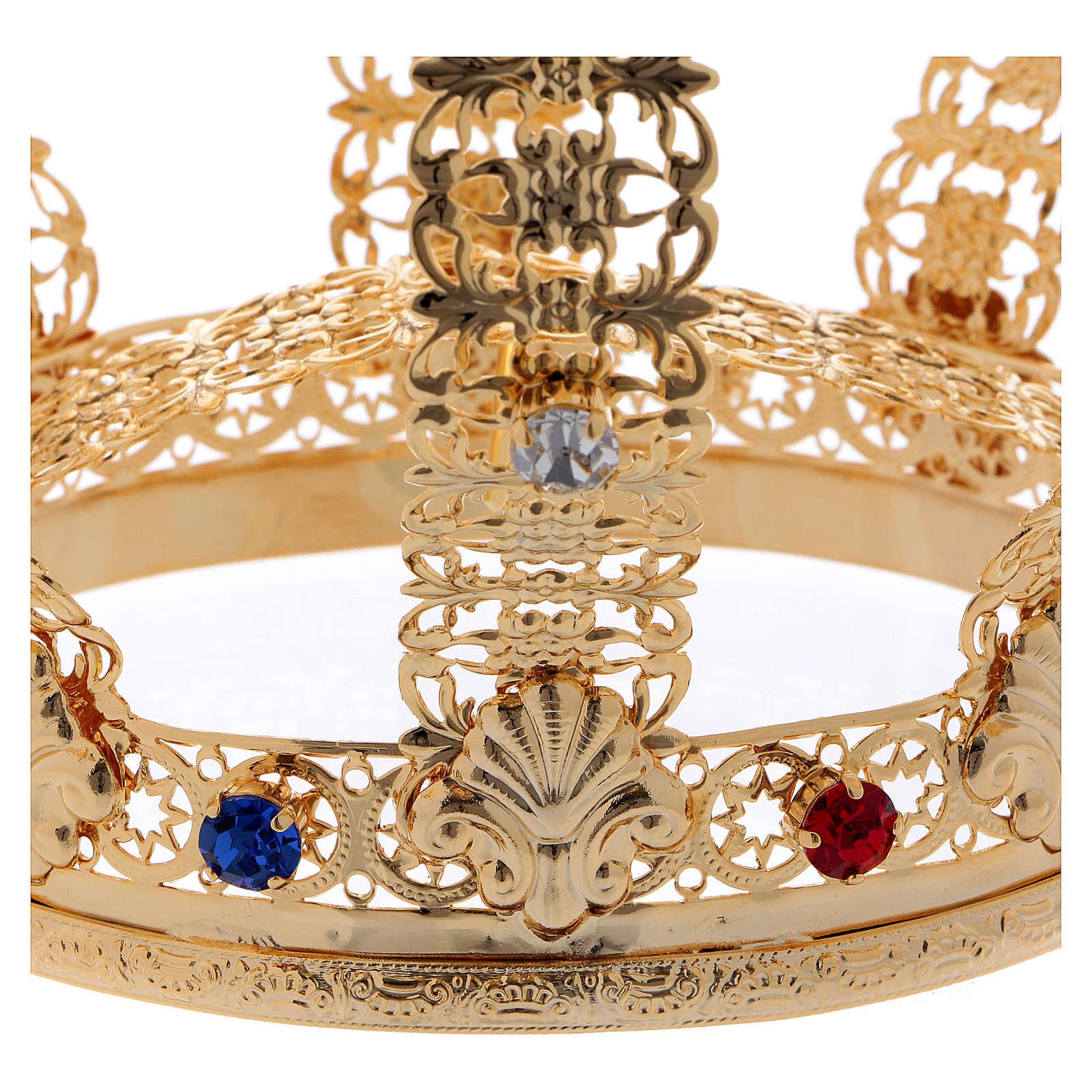 Coroa imperial com cruz e pedras diâmetro 12 cm 3