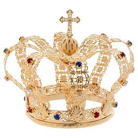 Coroa imperial com cruz e pedras diâmetro 12 cm s1