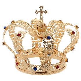 Coroa imperial com cruz e pedras diâmetro 12 cm s5