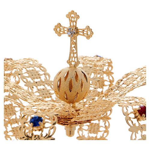 Coroa imperial com cruz e pedras diâmetro 12 cm 2