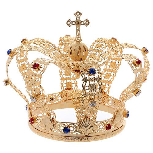 Coroa imperial com cruz e pedras diâmetro 12 cm 5