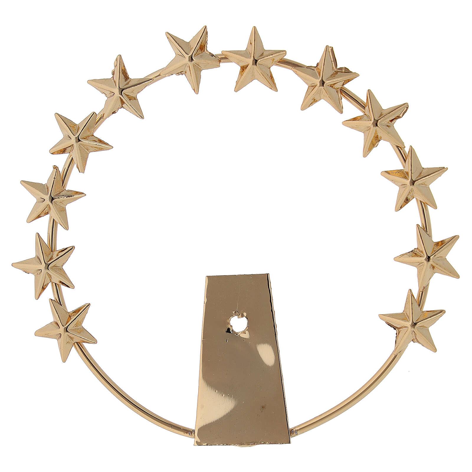 Aureola Madonna stelle ottone dorato 8 cm 3