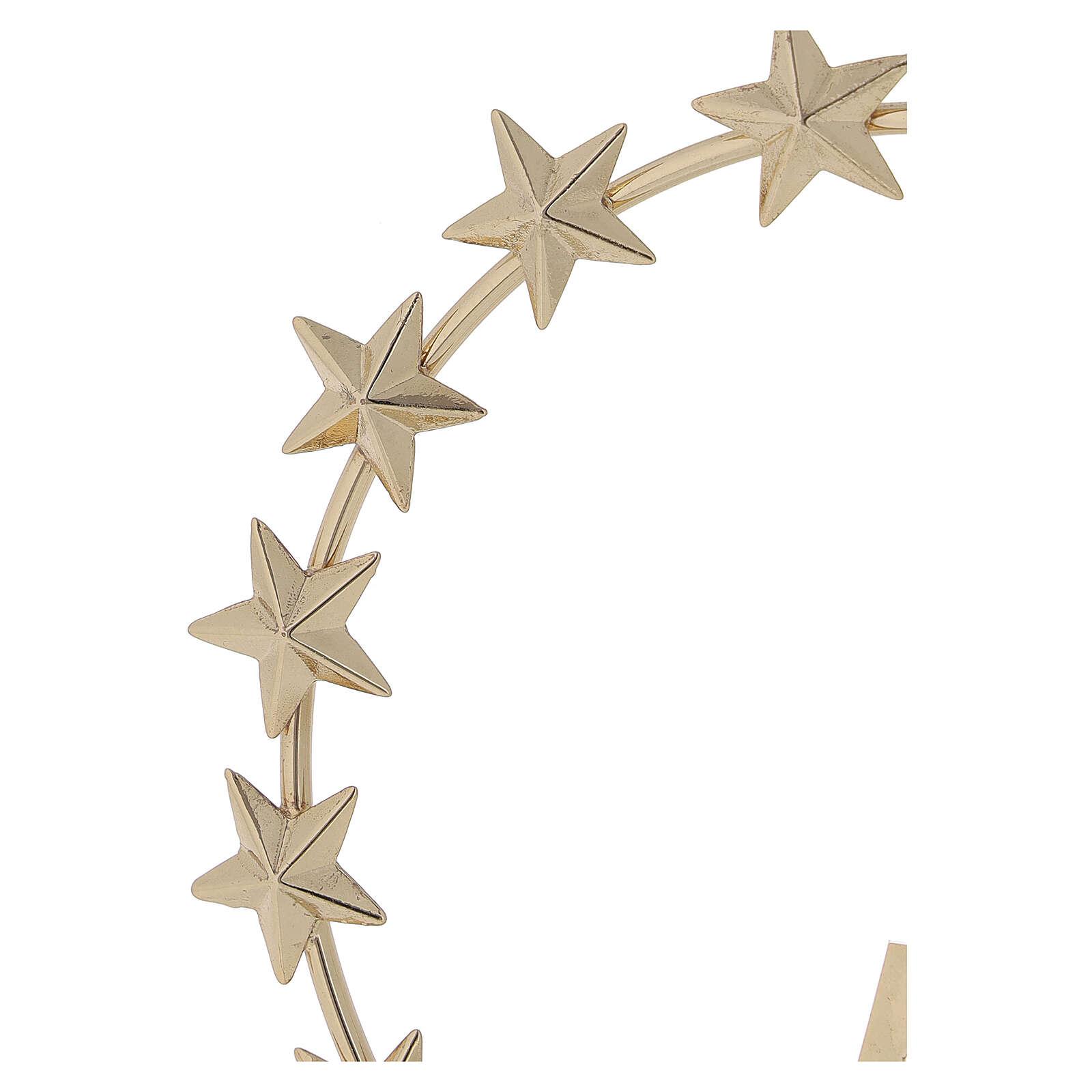STOCK Auréola Nossa Senhora estrelas latão dourado 12 cm 3