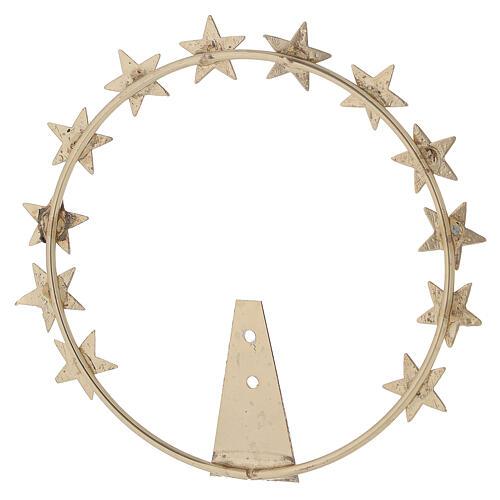 STOCK Auréola Nossa Senhora estrelas latão dourado 12 cm 4