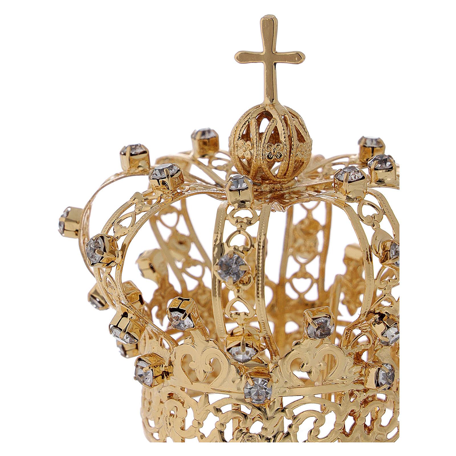 Corona Madonna croce e gemme 4 cm 3
