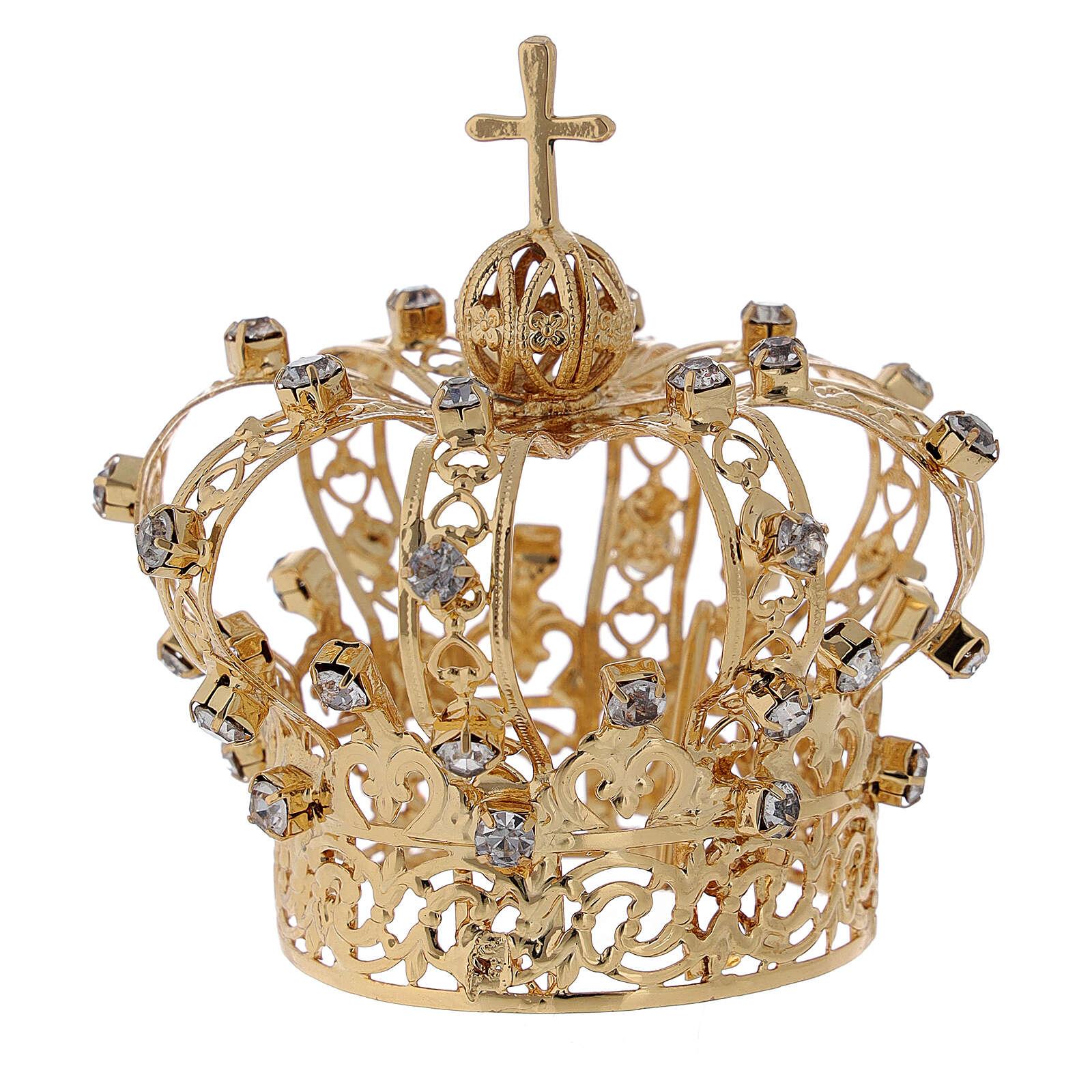 Coroa Nossa Senhora cruz e cristais 4 cm 3