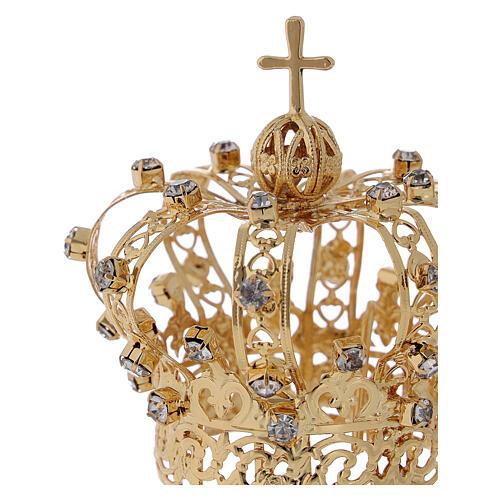 Coroa Nossa Senhora cruz e cristais 4 cm 2